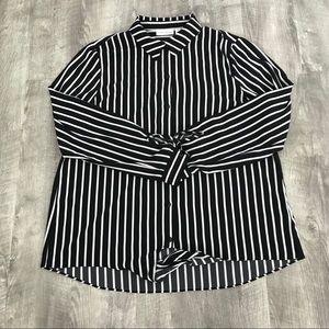 Susan Graver Women's Black & White Striped Blouse